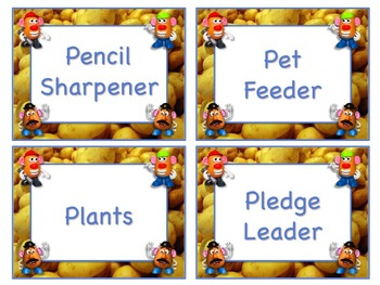 Mr. Potato Head Style Job Chart Cards / Signs - Great for Classroom Management!!