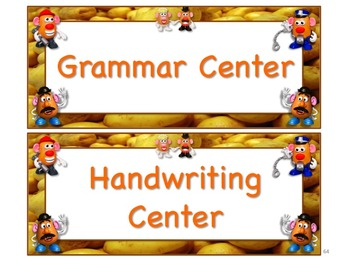 Mr. Potato Head Themed Station/Center Signs - Great for Classroom Management!!!