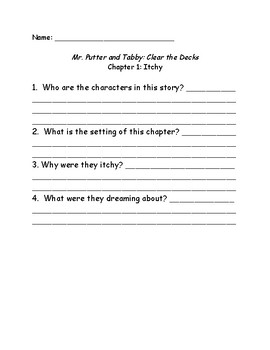 Mr. Putter and Tabby Clear the Decks comprehension questions