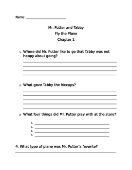 Mr Putter and Tabby Fly the Plane comprehension questions