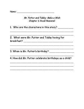 Mr. Putter and Tabby Make a Wish comprehension questions