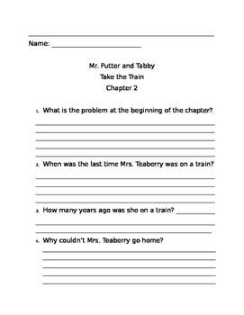 Mr. Putter and Tabby Take the Train Comprehension Questions