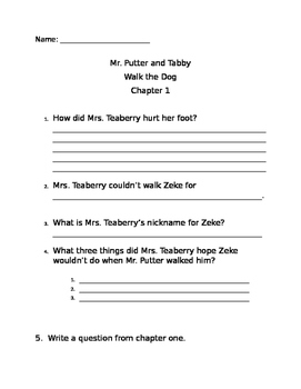 Mr Putter and Tabby Walk the Dog comprehension questions