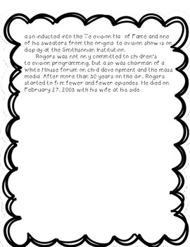 Mr. Rogers - Reading Comprehension Biography and Questions