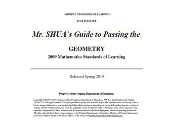 Mr. Shua's Guide to Passing the Virginia 2015 Geometry SOL
