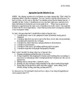Mr. Shelton's Appropriate Specials Essay