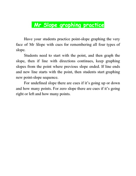 Mr Slope point-slope graphing practice