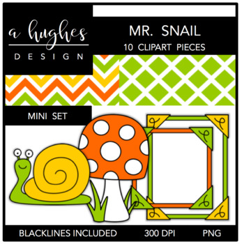 Mr. Snail Mini Clipart Bundle {A Hughes Design}