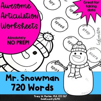 #jan2018slpmusthave Mr. Snowman Awesome Articulation Worksheets 720 Words