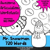 Mr. Snowman Awesome Articulation Worksheets 720 Words #jan2019slpmusthave