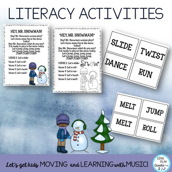 "Song: ""Hey Mr. Snowman"" Snowman Literacy Activities, Movement, Video"