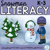 "Snowman Literacy Activities and Song ""Hey Mr. Snowman"" ELA, Mp3 Tracks, Video"