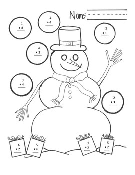 Mr. Snowman's Snowflake and Present Math Page