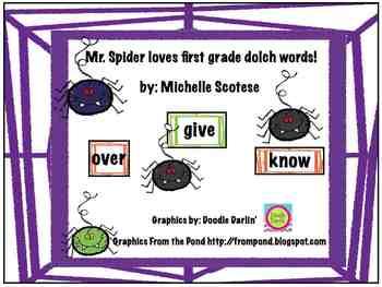 Mr. Spider loves first grade dolch words!
