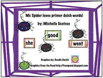 Mr. Spider loves primer dolch words!