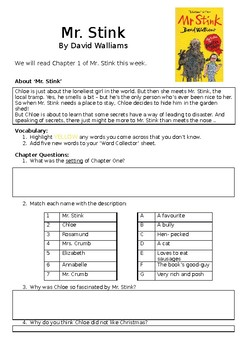 Mr Stink Chapter 1 activity