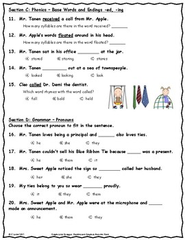 Mr. Tanen's Tie Trouble ~ Language Arts Test ~ 2nd Grade ~ HMH Journeys