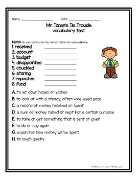 Mr. Tanen's Tie Trouble Supplemental Vocabulary Activities (Journeys 2011)