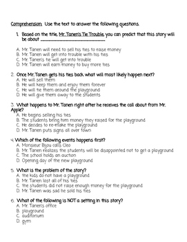 Mr Tanen's Tie Trouble Vocabulary and Comprehension Quiz VA SOL with SOL stems