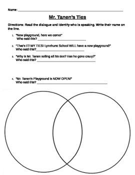Mr. Tanen's Ties Worksheet or Assessment
