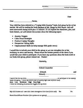 Mr. Terupt Book Club Parent Letter and Pre/Post Surveys