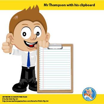 Freebie : Mr Thompson with Clipboard
