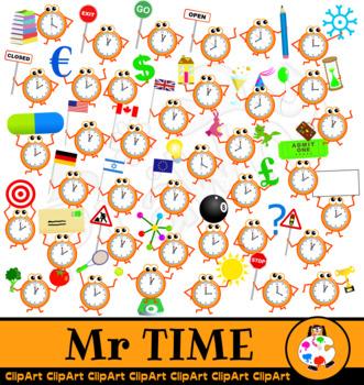 Mr Time Clock Clip Art - Mega Pack
