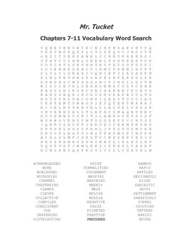 Mr. Tucket Ch. 7-11 Vocabulary Word Search