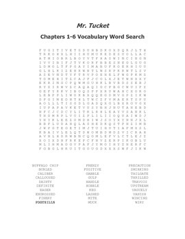 Mr. Tucket Vocabulary Word Search Packet