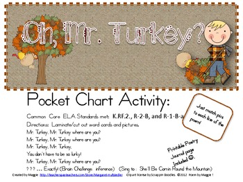 Mr. Turkey Pocket Chart Poetry Set