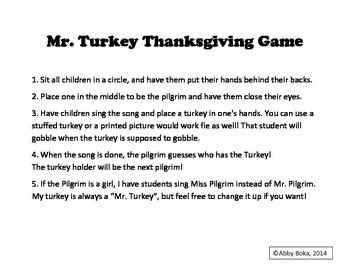 Mr. Turkey Thanksgiving Game