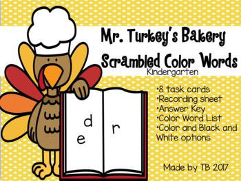 Mr. Turkey's Bakery Scrambled Color Words
