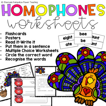 "Mr Turkey says ""Let's learn homophones"""