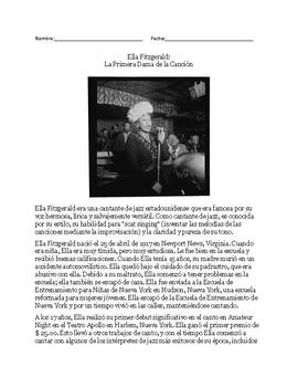 Mr. Urban's ESL Class: Ella Fitzgerald - Passage & Question Set-English/Spanish