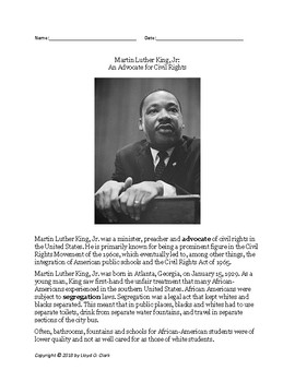 Mr. Urban's ESL Class: Martin Luther King, Jr- Passage/Question Set