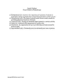 Mr. Urban's ICON SERIES: Oprah Winfrey- Passage & Question Set