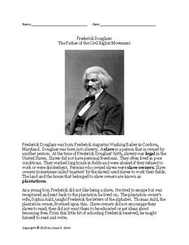 Mr Urban's Icon Series:  Frederick Douglas - Passage & Question Set