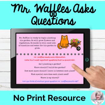 Mr. Waffles Asks Questions Language Lesson NO PRINT Digital Teletherapy