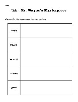 Mr. Wayne's Masterpiece by Patricia Polacco reading unit with printables