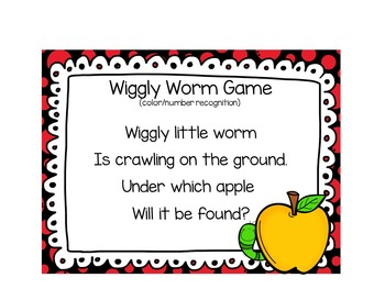 Mr. Wiggly Worm (color/number recognition game)