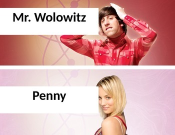 Mr. Wolowitz and Penny Table Group Name Plates