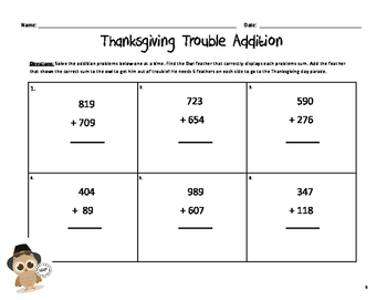 Mr. and Mrs. Hoot's Thanksgiving Trouble (Addition)