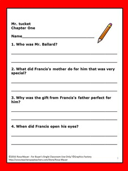 Mr. Tucket Literacy Comprehension Questions