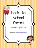 Mrs. A's Back to School Forms