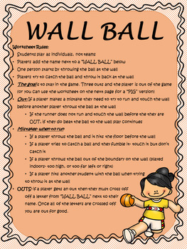 Mrs Benson's Wallball Rules and Worksheet