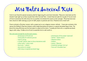 Mrs Bolt's Survival Kits - For Back to School or Mother's