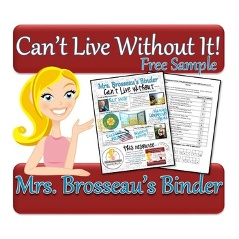 Mrs. Brosseau's Binder Can't Live Without It: A Free Sample!