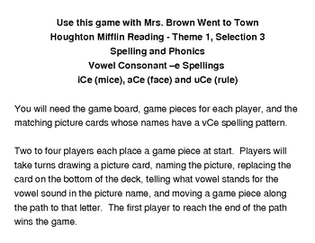 Mrs. Brown Went To Town Literacy Game - Houghton Mifflin Reading