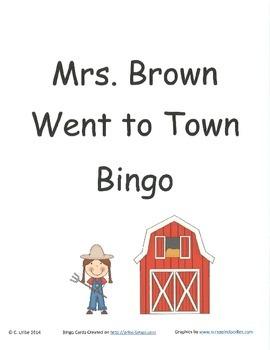 Mrs. Brown Went to Town Bingo Game ~ Language Arts Activity
