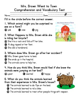 Mrs. Brown Went to Town Comprehension & Vocabulary Test